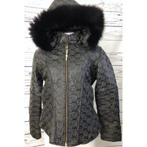 Chebella Leather Winter Jacket & Faux Trim